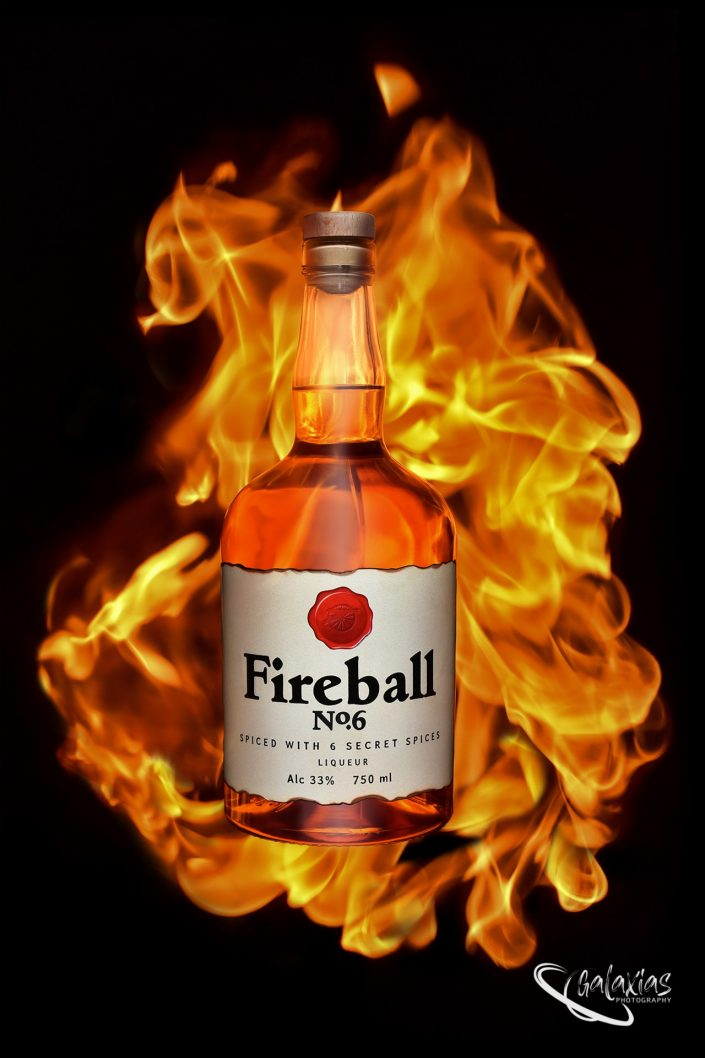 Fireball No.6 Whisky with flames as background