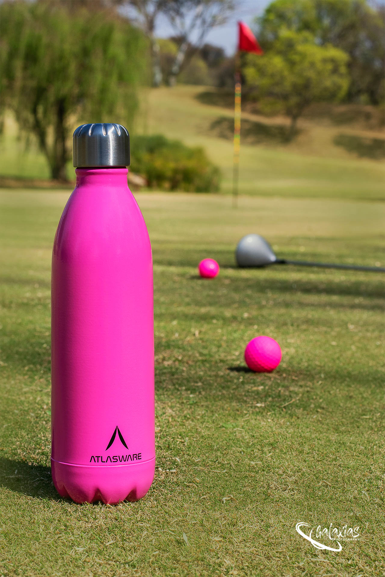 Pink thermal water bottle by Galaxias Photography