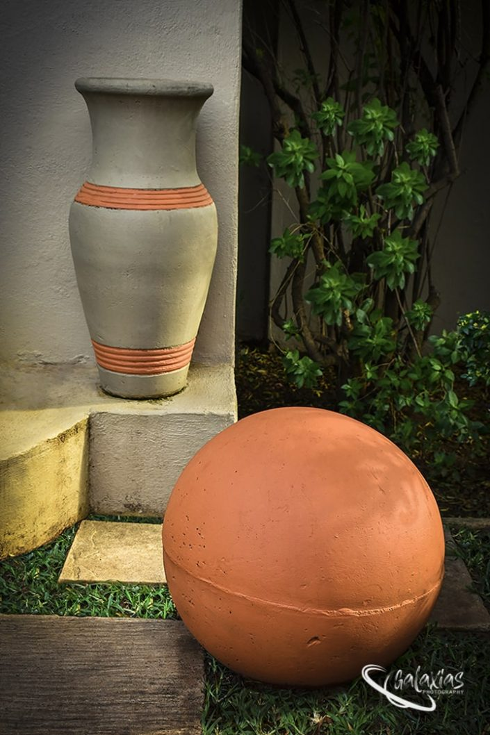 Pot and ball decoration in a garden