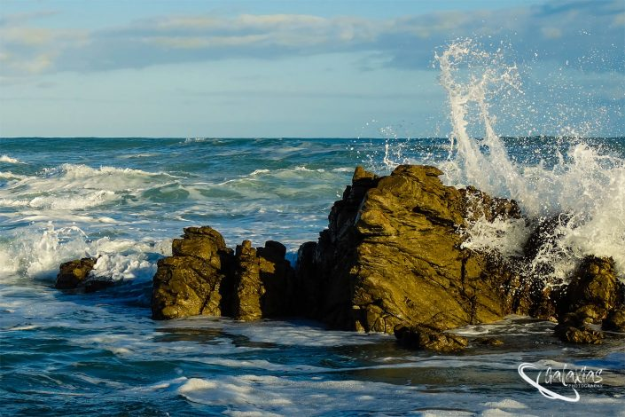 Sea water splashing against a rock at Cape Agulhas