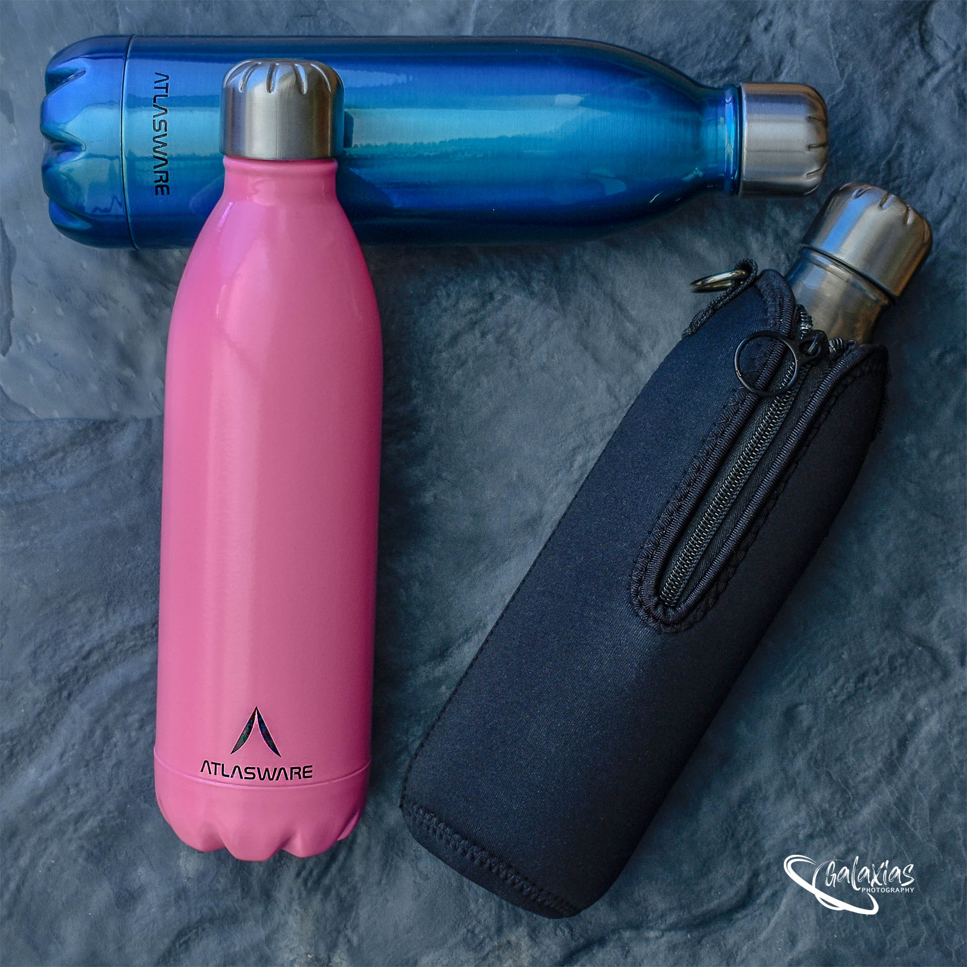 Multi-coloured thermal water bottles by Galaxias Photography